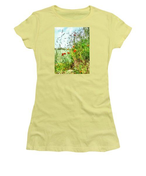 Women's T-Shirt (Junior Cut) featuring the digital art The Edge Of The Field by Steve Taylor