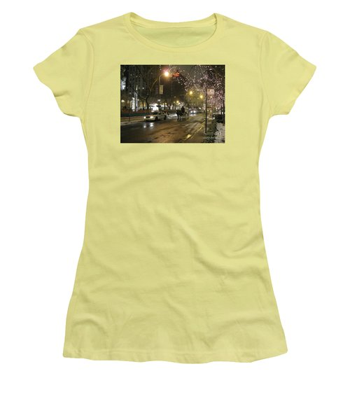 Women's T-Shirt (Athletic Fit) featuring the photograph The Past Meets The Present In Chicago Il by Ausra Huntington nee Paulauskaite