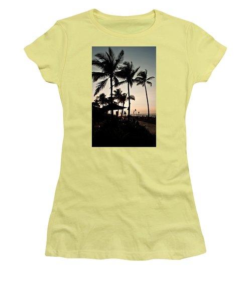 Women's T-Shirt (Junior Cut) featuring the photograph Tropical Island Silhouette Beach Sunset by Valerie Garner