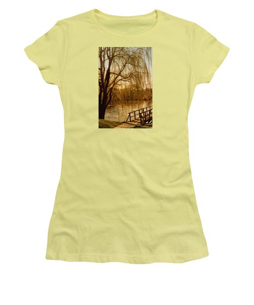 Women's T-Shirt (Junior Cut) featuring the photograph Weeping Willow And Bridge by Barbara Middleton