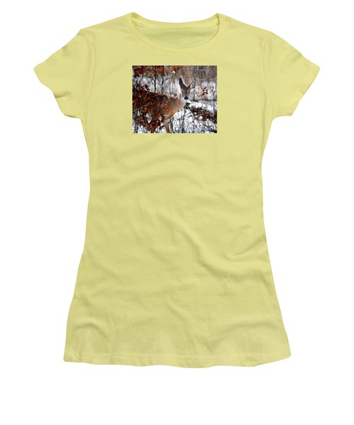 Whitetail Deer In Snow Women's T-Shirt (Junior Cut) by Nava Thompson