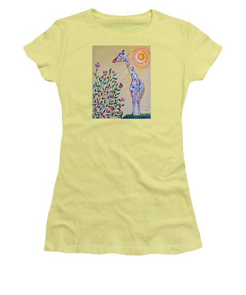 Wild And Crazy Giraffe Women's T-Shirt (Junior Cut) by Phyllis Kaltenbach