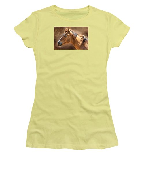 Women's T-Shirt (Junior Cut) featuring the digital art Wild Mustang by Mary Almond
