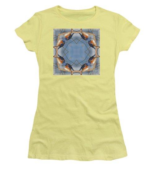 Winter Bluebird Kaleidoscope Women's T-Shirt (Junior Cut) by Smilin Eyes  Treasures