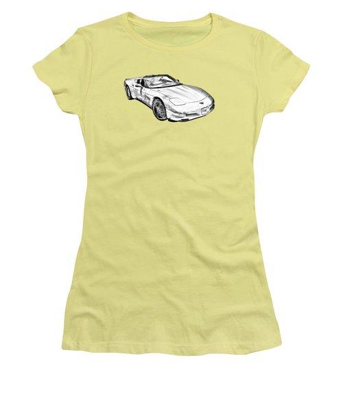 C5 Corvette Convertible Muscle Car Illustration Women's T-Shirt (Junior Cut) by Keith Webber Jr