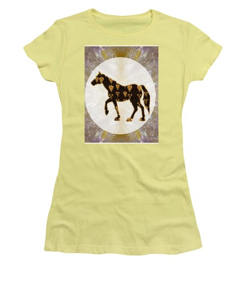 Horse Prancing Abstract Graphic Filled Cartoon Humor Faces Download Option For Personal Commercial  Women's T-Shirt (Athletic Fit)