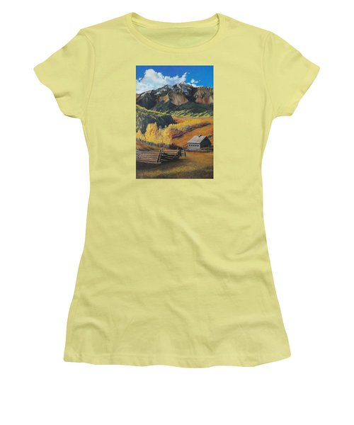 Women's T-Shirt (Junior Cut) featuring the painting  I Will Lift Up My Eyes To The Hills Autumn Nostalgia  Wilson Peak Colorado by Anastasia Savage Ealy