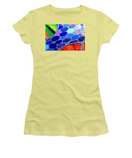 Mosaic Abstract Of The Blue Green Red Orange Stones Women's T-Shirt (Junior Cut) by Michael Hoard