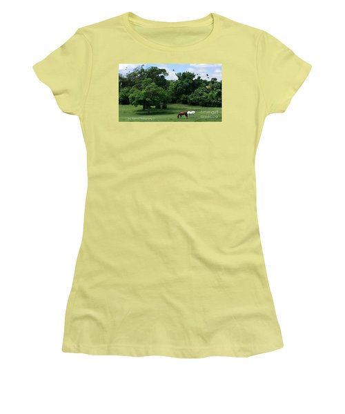 Women's T-Shirt (Junior Cut) featuring the photograph  Mr. And Mrs. Horse - No. 195 by Joe Finney