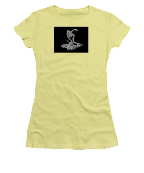 0111-dja Languid Seated Zebra Woman Black White Striped Abstract Photograph Women's T-Shirt (Junior Cut) by Chris Maher