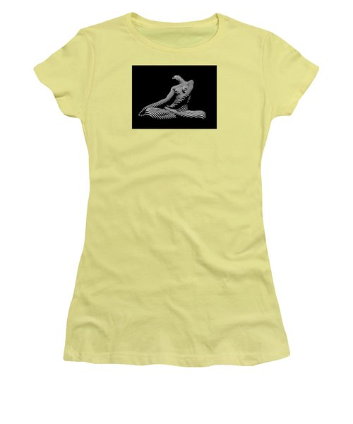 0174-dja Lotus Zebra Woman Sensual Feminine Black And White Figure Study Women's T-Shirt (Junior Cut) by Chris Maher