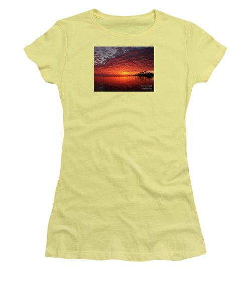 0205 Awesome Sunset Colors On Santa Rosa Sound Women's T-Shirt (Junior Cut) by Jeff at JSJ Photography
