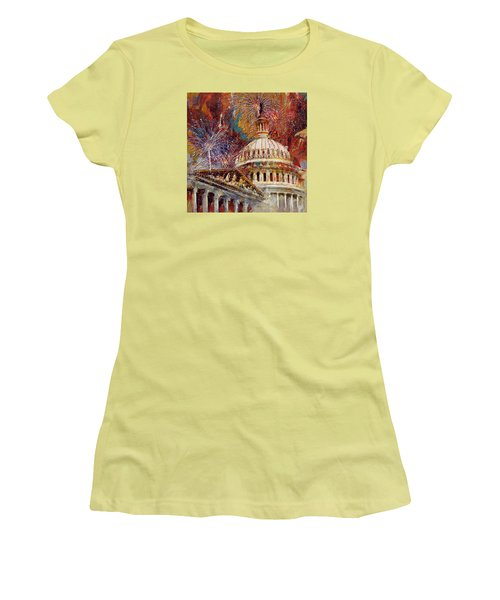 070 United States Capitol Building - Us Independence Day Celebration Fireworks Women's T-Shirt (Junior Cut) by Maryam Mughal