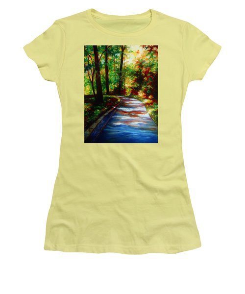 Women's T-Shirt (Junior Cut) featuring the painting A Morning Walk by Emery Franklin