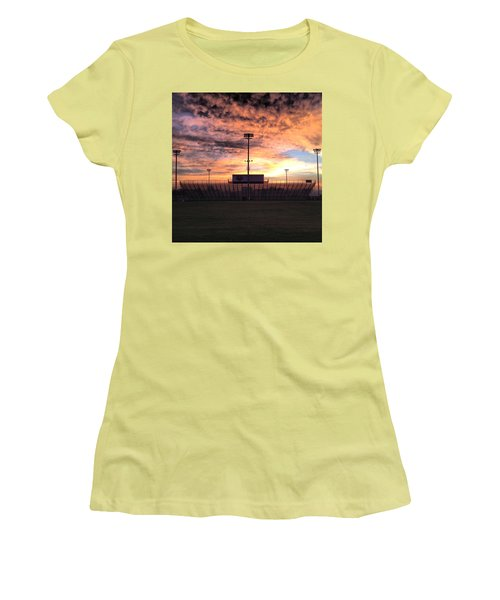 Alma High School Don Miller Field Sunrise Bleachers Women's T-Shirt (Athletic Fit)