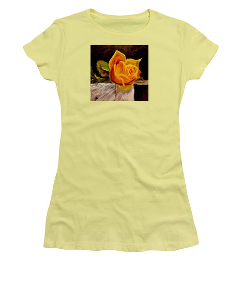Women's T-Shirt (Junior Cut) featuring the painting Alone.. by Cristina Mihailescu