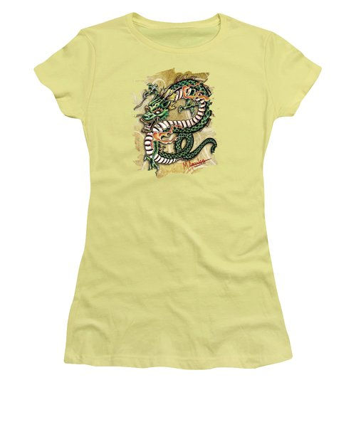 Asian Dragon Women's T-Shirt (Junior Cut) by Maria Arango
