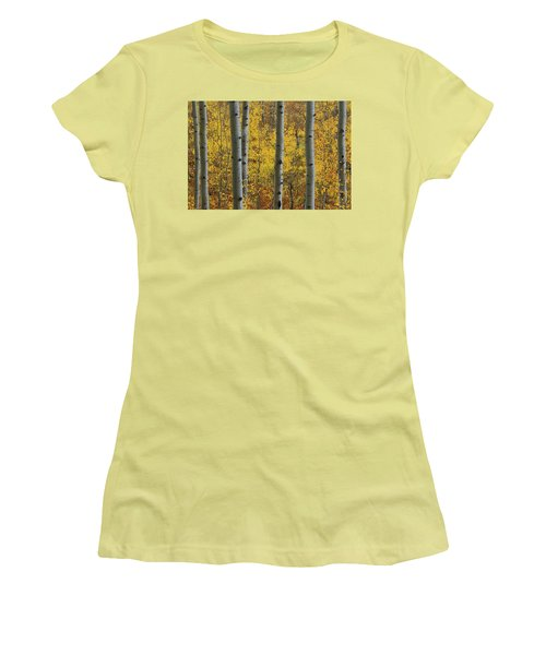 Women's T-Shirt (Junior Cut) featuring the photograph Aspen In Autumn At Mcclure Pass by Jetson Nguyen