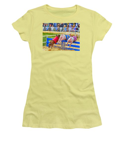 Women's T-Shirt (Athletic Fit) featuring the photograph At The Pig Races by AJ Schibig