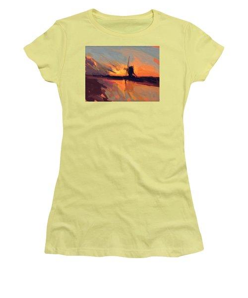 Autumn Indian Summer Windmill Holland Women's T-Shirt (Junior Cut) by Nop Briex