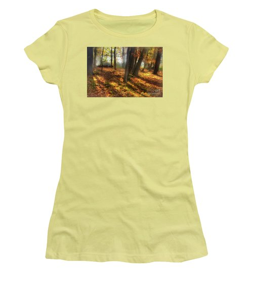 Women's T-Shirt (Junior Cut) featuring the painting Autumn Shadows In The Blue Ridge Ap by Dan Carmichael