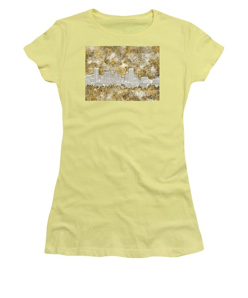 Women's T-Shirt (Junior Cut) featuring the painting Baltimore Skyline Watercolor 13 by Bekim Art