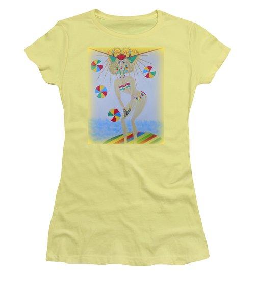 Beach Ball Surfer Women's T-Shirt (Junior Cut) by Marie Schwarzer