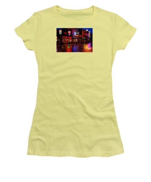 Women's T-Shirt (Junior Cut) featuring the photograph Beale Street Memphis by James Kirkikis