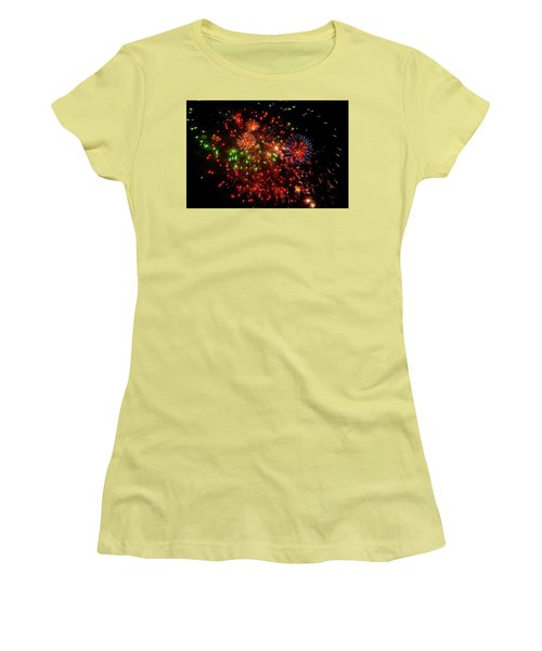 Beautiful Fireworks Against The Black Sky Of The New Year Women's T-Shirt (Athletic Fit)