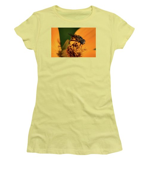 Women's T-Shirt (Junior Cut) featuring the photograph Bee On Flower by Jay Stockhaus