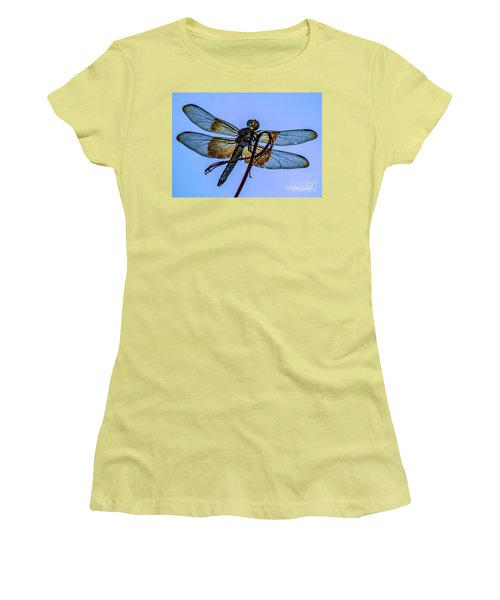 Blue Dragonfly Women's T-Shirt (Junior Cut) by Toma Caul