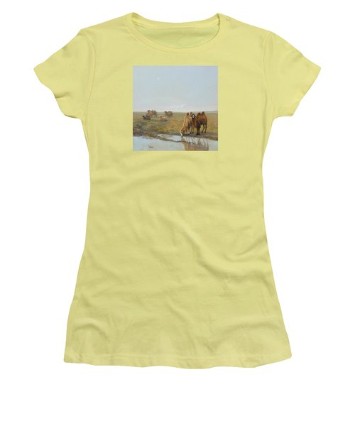 Camels Along The River Women's T-Shirt (Athletic Fit)