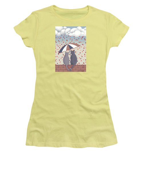 Cats In Love Women's T-Shirt (Junior Cut) by Anne Gifford