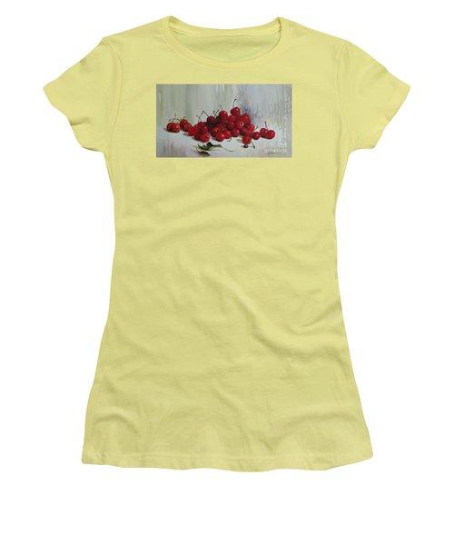 Women's T-Shirt (Junior Cut) featuring the painting Cherries by Elena Oleniuc