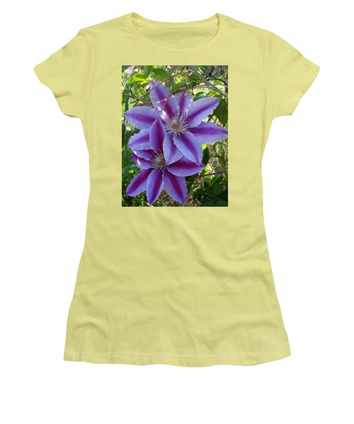Clematis Petals Women's T-Shirt (Junior Cut) by Rebecca Overton