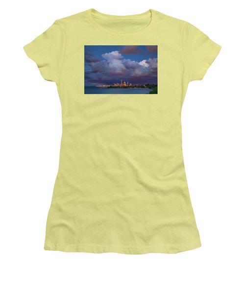 Women's T-Shirt (Junior Cut) featuring the photograph Cleveland Skyline  by Emmanuel Panagiotakis