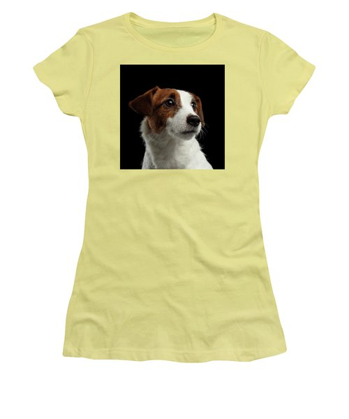 Closeup Portrait Of Jack Russell Terrier Dog On Black Women's T-Shirt (Athletic Fit)