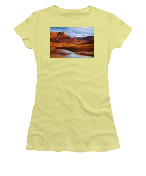 Colorado River At Fisher Towers Women's T-Shirt (Junior Cut) by Utah Images