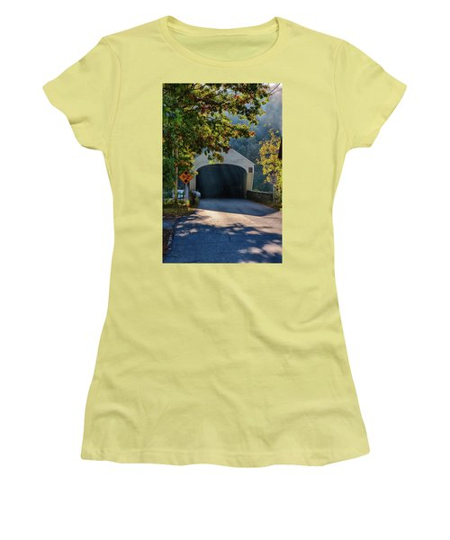 Women's T-Shirt (Athletic Fit) featuring the photograph Cornish-windsor Covered Bridge by Jeff Folger