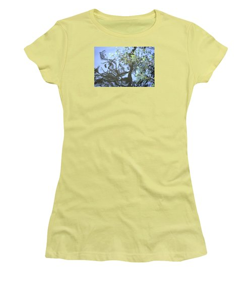 Women's T-Shirt (Junior Cut) featuring the photograph Dancing Leaves by Linda Geiger