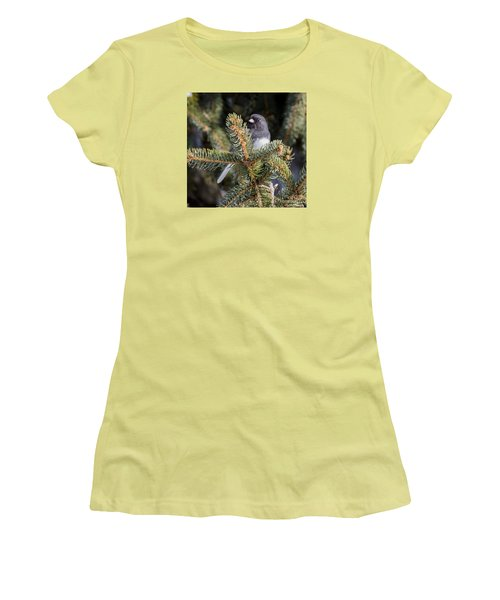 Women's T-Shirt (Junior Cut) featuring the photograph Dark-eyed Junco by Ricky L Jones