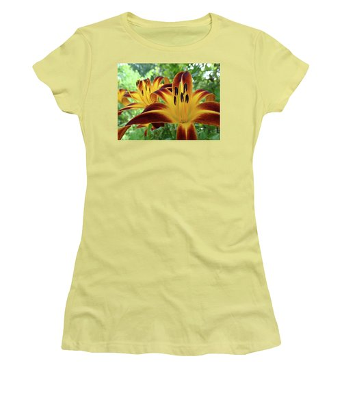Daylilies At Daybreak Women's T-Shirt (Junior Cut) by Rebecca Overton