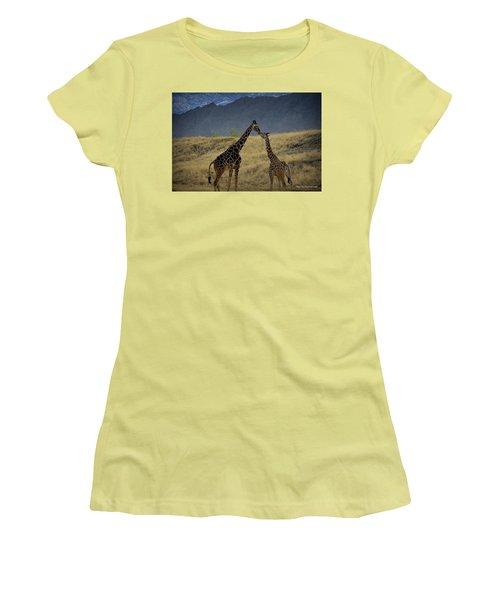 Women's T-Shirt (Junior Cut) featuring the photograph Desert Palm Giraffe 001 by Guy Hoffman