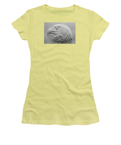 Women's T-Shirt (Junior Cut) featuring the relief Eagle Head Relief Drawing by Suhas Tavkar