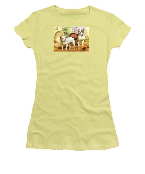 Women's T-Shirt (Junior Cut) featuring the digital art English Bulldogs by Charmaine Zoe