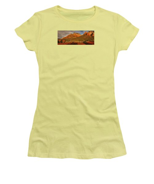 Evening Shadows Pano Txt Women's T-Shirt (Athletic Fit)