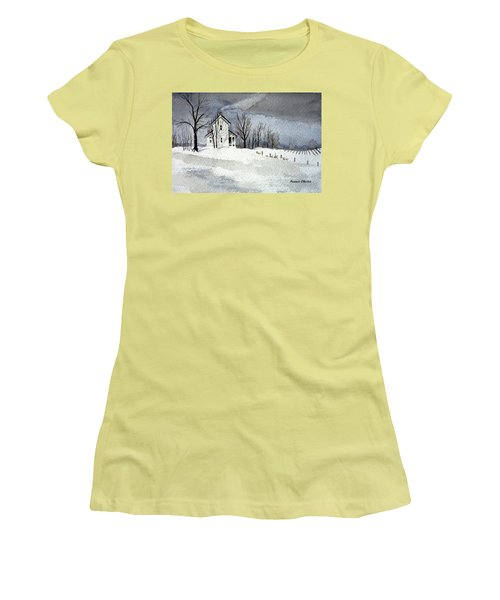 Farmhouse In Winter Women's T-Shirt (Athletic Fit)