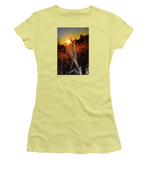 Women's T-Shirt (Junior Cut) featuring the photograph Frosty Sunrise by Dacia Doroff