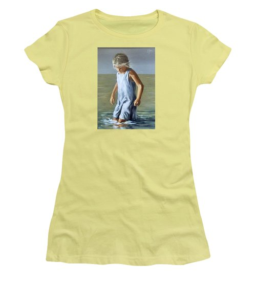 Women's T-Shirt (Junior Cut) featuring the painting Girl by Natalia Tejera