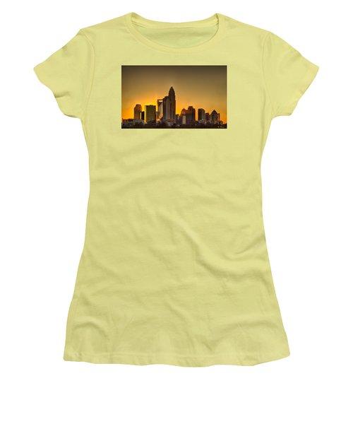 Golden Charlotte Skyline Women's T-Shirt (Junior Cut) by Alex Grichenko